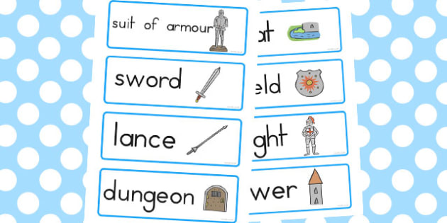 Castles and Knights Topic Word Cards - australia, word, cards