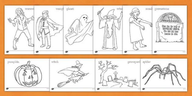 Halloween Colouring Pictures - Halloween, colouring, colour, activity, pumpkin , witch, bat, scary, black cat, mummy, grave stone, cauldron, broomstick, haunted house, potion, Hallowe'en