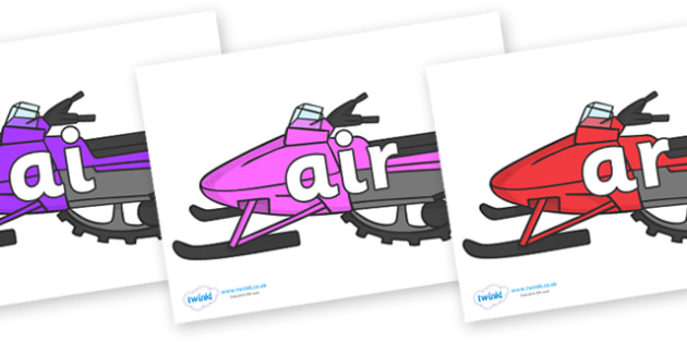Phase 3 Phonemes on Snowmobiles - Phonemes, phoneme, Phase 3, Phase three, Foundation, Literacy, Letters and Sounds, DfES, display
