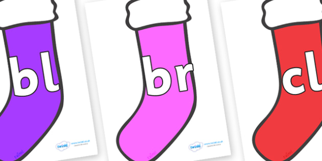Initial Letter Blends on Stockings - Initial Letters, initial letter, letter blend, letter blends, consonant, consonants, digraph, trigraph, literacy, alphabet, letters, foundation stage literacy