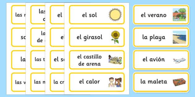 Summer Topic Word Cards Spanish - spanish, Summer, Word cards, Word Card, flashcard, flashcards, season, holiday, holidays, beach, sun, flowers, ice cream, sea, seaside
