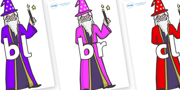 Initial Letter Blends on Wizards - Initial Letters, initial letter, letter blend, letter blends, consonant, consonants, digraph, trigraph, literacy, alphabet, letters, foundation stage literacy