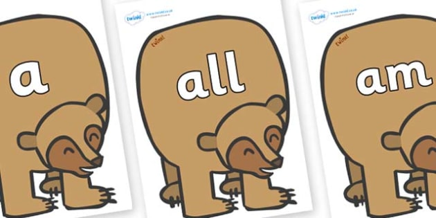 Foundation Stage 2 Keywords on Brown Bear to Support Teaching on Brown Bear, Brown Bear - FS2, CLL, keywords, Communication language and literacy,  Display, Key words, high frequency words, foundation stage literacy, DfES Letters and Sounds, Letters