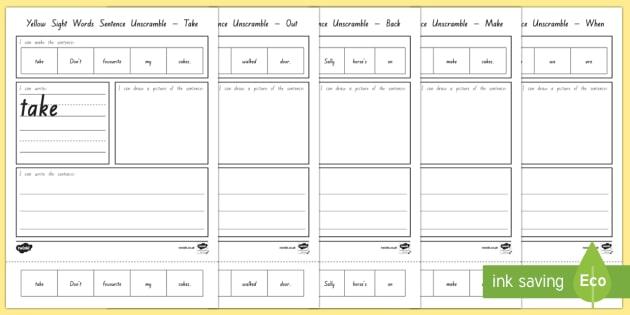 New Zealand Reading Yellow Sight Words Sentence Unscramble - New Zealand, Sight words, NZ, yellow, spellings, word list