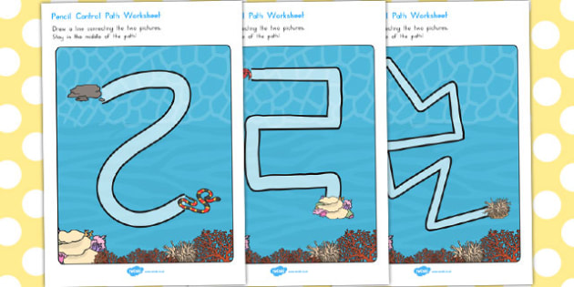 Great Barrier Reef Pencil Control Path Worksheets - australia