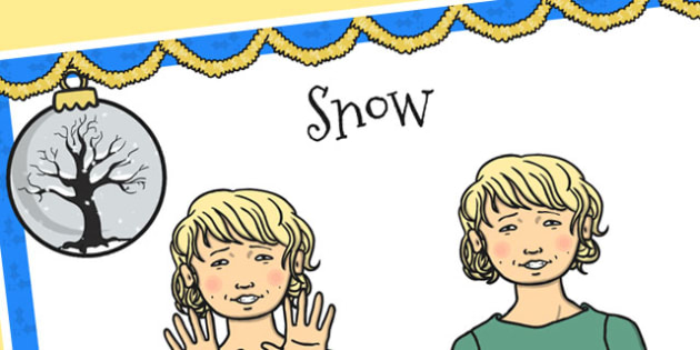 A4 British Sign Language Sign for Snow Left Handed - snow, left