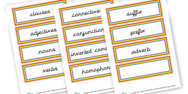Grammar Word Cards - Grammar Visual Aids Primary Resources, grammar, aids, activities