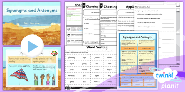 PlanIt Y6 SPaG Lesson Pack: Synonyms and Antonyms - GPS, spelling, sentence, word, meaning, vocabulary