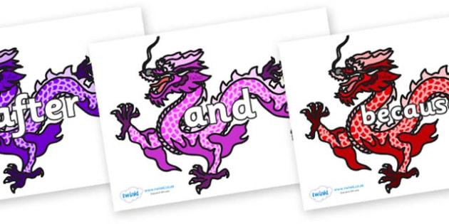 Connectives on Chinese Dragons (Multicolour) - Connectives, VCOP, connective resources, connectives display words, connective displays