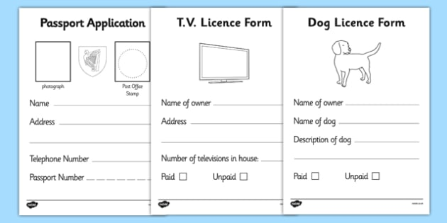 Irish Post Office Display Pack - role play, display, labelrole play, display, label