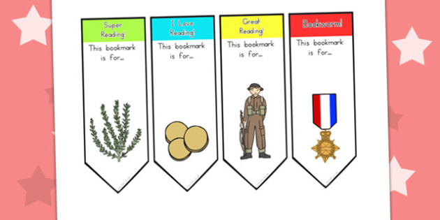 Anzac Day Bookmarks - books, read, reading awards, awards, reward
