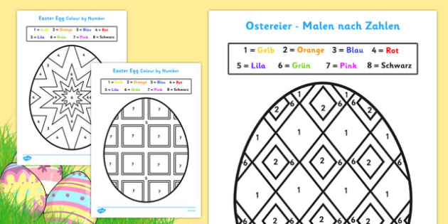 Easter Colour by Number German - german, colouring, sheets, colouring by numbers, colour by number, easter, easter numbers, easter colouring, easter colouring sheets, counting, numeracy, colour recognition, colouring activity