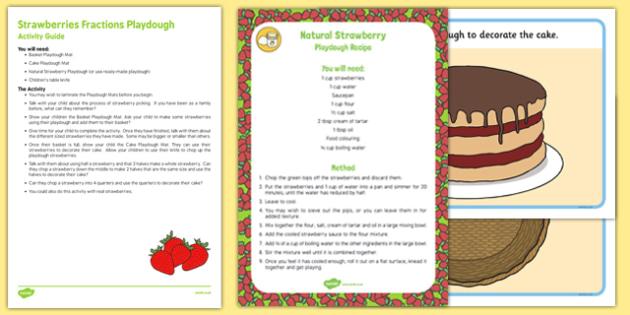 Strawberry Fractions Playdough Busy Bag Resource Pack for Parents - strawberry, half, halving, quarter, quartering, cake, basket