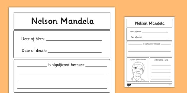 Nelson Mandela Significant Individual Writing Frame - writing