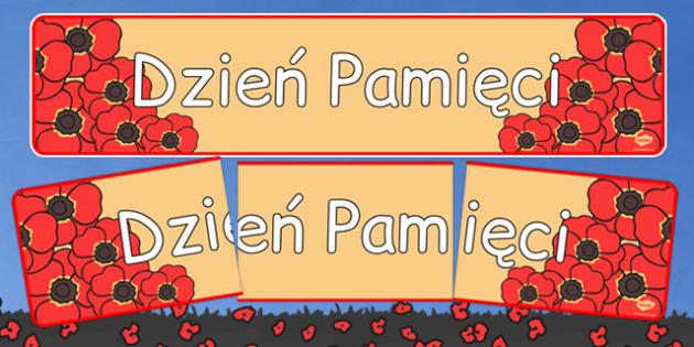 Banner na gazetkę ścienną Dzień Pamięci po polsku - historia , Polish