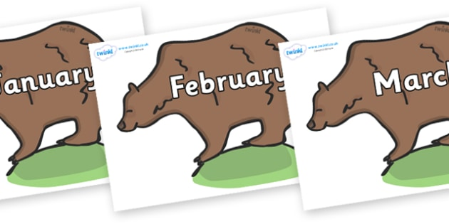 Months of the Year on Bears - Months of the Year, Months poster, Months display, display, poster, frieze, Months, month, January, February, March, April, May, June, July, August, September