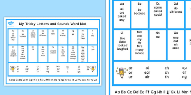 Tricky Letters and Sounds Word Mat Dyslexia - australia, tricky letters