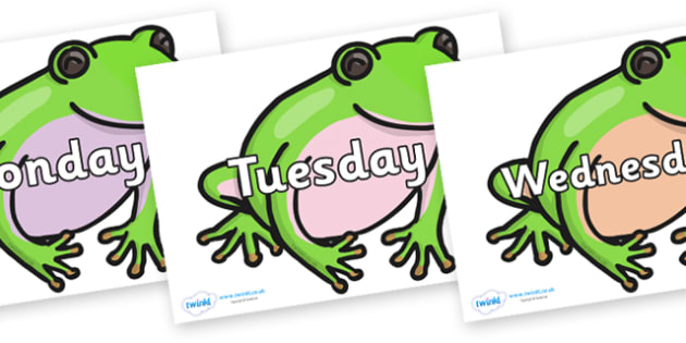 Days of the Week on Green Tree Frog - Days of the Week, Weeks poster, week, display, poster, frieze, Days, Day, Monday, Tuesday, Wednesday, Thursday, Friday, Saturday, Sunday
