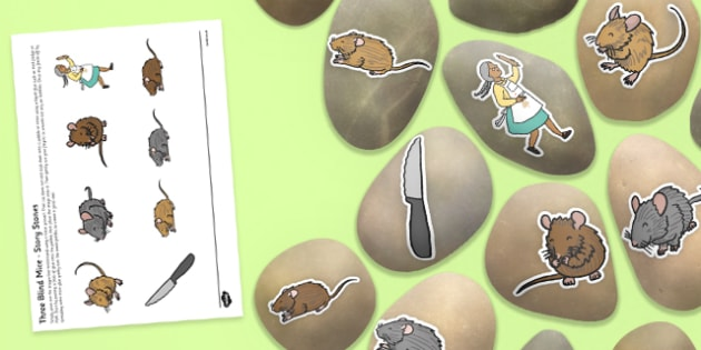 Three Blind Mice Story Stone Image Cut-Outs - Story stones, stone art, painted rocks, Nursery Rhymes, song
