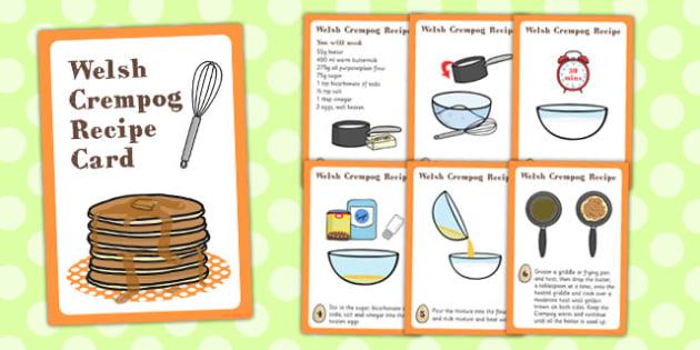 Wales Crempog Recipe Card - crempog, recipe cards, wales, recipe