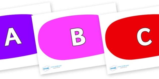 A-Z Alphabet on Speech Bubbles (Multicolour) - A-Z, A4, display, Alphabet frieze, Display letters, Letter posters, A-Z letters, Alphabet flashcards