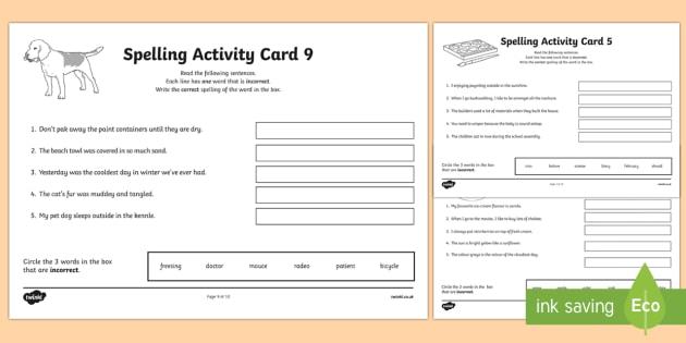Australian Year 5 Spelling Mistakes Set Two Activity Sheets-Australia