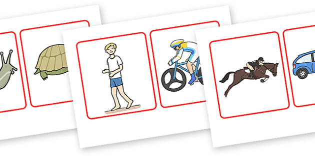 Slowest To Fastest Ordering Cards - slowest to fastest, ordering, cards, flashcard, card, order, ordering cards, slow, fast, slower, faster, images, slower than, faster than, speed, activity