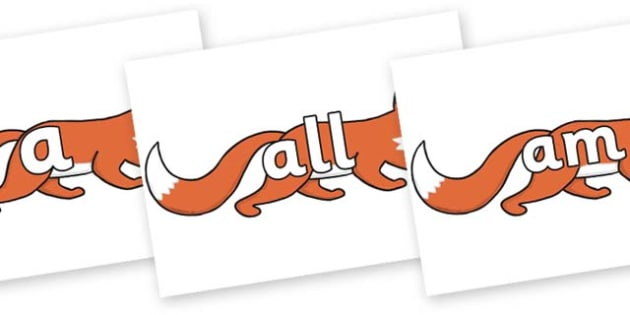 Foundation Stage 2 Keywords on Hullabaloo Fox to Support Teaching on Farmyard Hullabaloo - FS2, CLL, keywords, Communication language and literacy,  Display, Key words, high frequency words, foundation stage literacy, DfES Letters and Sounds, Letters