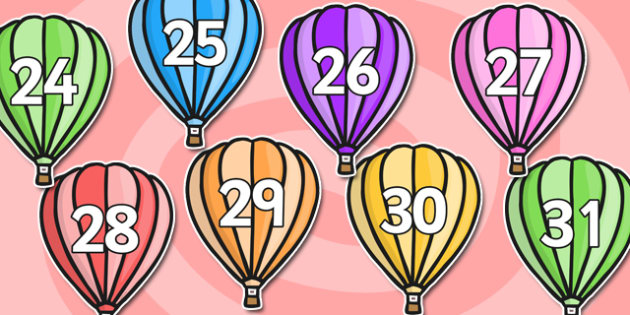 Calendar Numbers 0-31 on Hot Air Balloons (Plain) - Calendar, Foundation Numeracy, Numbers, 0-31, A4, display, birthday, hot air balloon, balloon, balloons