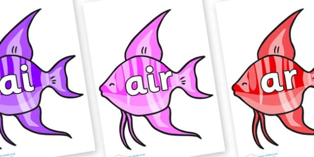 Phase 3 Phonemes on Angelfish - Phonemes, phoneme, Phase 3, Phase three, Foundation, Literacy, Letters and Sounds, DfES, display
