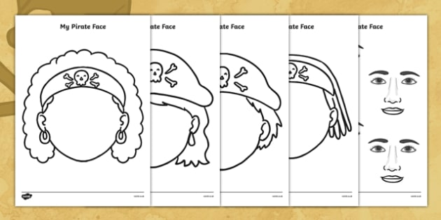 Blank My Pirate Face Templates with Facial Features - pirate, face templates, templates, blank templates, facial features, drawing activity, drawing, art