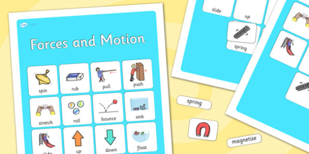 Forces and Motion Vocabulary Poster - forces, motion, display posters, themed posters, image, pictures, key words, forces and motion vocabulary, vocabulary