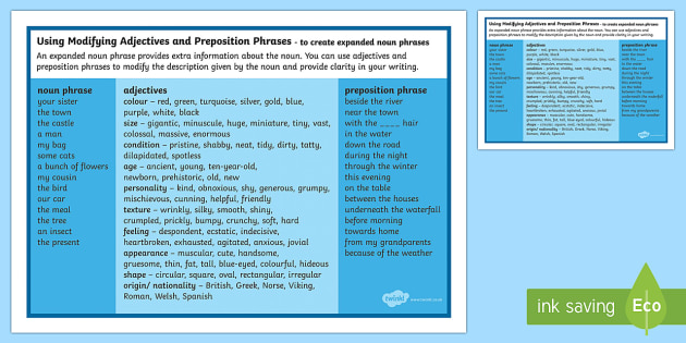 Year 4 SPaG Expanded Noun Phrases using Modifying Adjectives and Preposition Phrases Word Mat