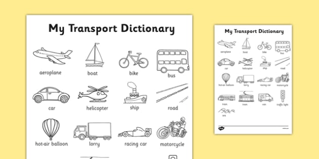 Transport Dictionary Colouring Sheet - transport, dictionary, colouring, sheet, colour