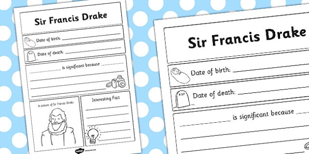 Sir Francis Drake Significant Individual Writing Frame - writing
