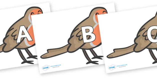 A-Z Alphabet on Robins - A-Z, A4, display, Alphabet frieze, Display letters, Letter posters, A-Z letters, Alphabet flashcards