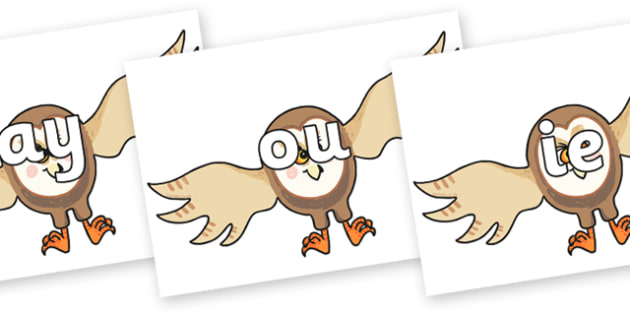 Phase 5 Phonemes on Hullabaloo Owl to Support Teaching on Farmyard Hullabaloo - Phonemes, phoneme, Phase 5, Phase five, Foundation, Literacy, Letters and Sounds, DfES, display