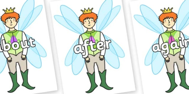KS1 Keywords on Fairy Prince - KS1, CLL, Communication language and literacy, Display, Key words, high frequency words, foundation stage literacy, DfES Letters and Sounds, Letters and Sounds, spelling