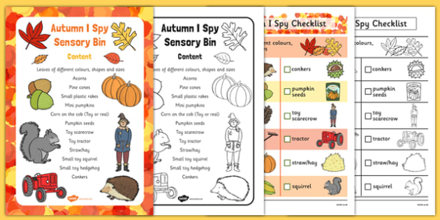Autumn I Spy-Sensory Bin and Prompt Card Pack - touch, feel, share, think, discuss, talk, explain, write, group, small, independent, describe, find,