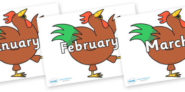 Months of the Year on Hullabaloo Rooster to Support Teaching on Farmyard Hullabaloo - Months of the Year, Months poster, Months display, display, poster, frieze, Months, month, January, February, March, April, May, June, July, August, September