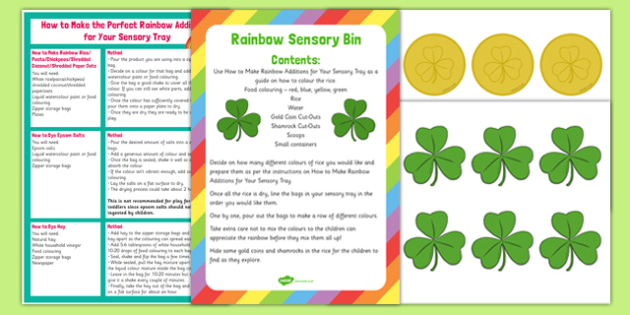 Rainbow Sensory Bin and Resource Pack - St Patrick's Day, Shamrocks, Gold coins