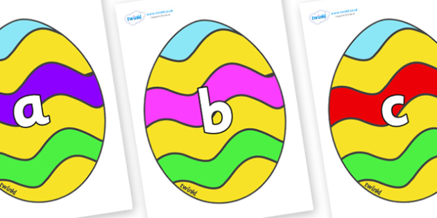Phase 2 Phonemes on Easter Eggs (Striped) - Phonemes, phoneme, Phase 2, Phase two, Foundation, Literacy, Letters and Sounds, DfES, display