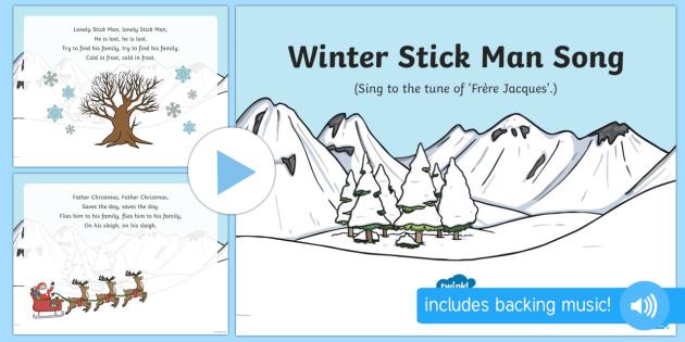 Winter Stick Man Song PowerPoint