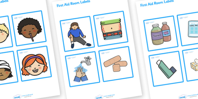 First Aid Room Picture Labels - first aid room picture labels, first aid, room, picture, labels, labelling, aid, emergency, wound, scratch, nurse, signs, label