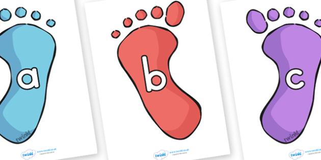 A Z Alphabet on Footprints - alphabet, a-z, footprint, visual aid