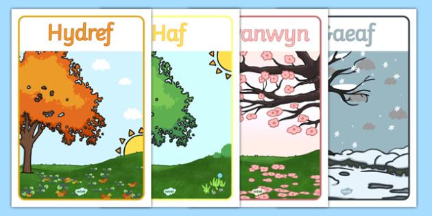 Poster 'Tymhorau'r Flwyddyn' - spring, summer, autumn, winter, poster
