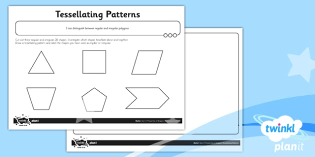 PlanIt Y5 Properties of Shapes Tessellating Patterns Home Learning - Properties of Shapes, regular, irregular, 2D shapes, geometric shapes, shape reasoning