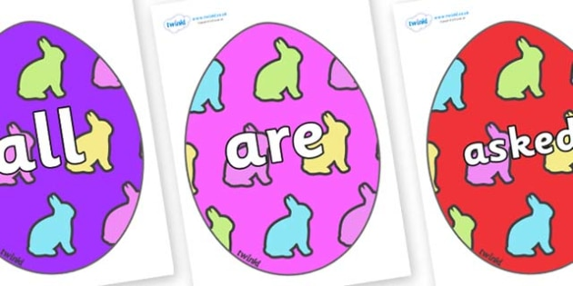 Tricky Words on Easter Eggs (Rabbits) - Tricky words, DfES Letters and Sounds, Letters and sounds, display, words