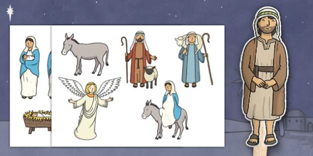 Nativity Stick Puppets - Nativity, Stick Puppet, Christmas Story, xmas, Visual Aids, Mary, Joseph, Jesus, shepherd, wise men, Herod, angel, donkey, stable, Gabriel, First Christmas,Inn, Star