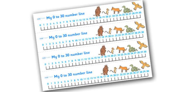The Gruffalo Number Tracks 0 30 -  the gruffalo, number tracks, numberlines, 0-10, gruffalo themed numbertracks, gruffalo themed numberline